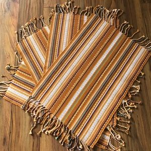 Rustic Fiesta Striped Reversible Placemats Set/ 4